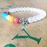 WL Pulsera 7 Chakra Healing Balance, Pulsera De Elefantes, Cuentas De Arenisca Blanca, Brazalete Y Brazalete para Mujeres, Hombres, Yoga De Lava