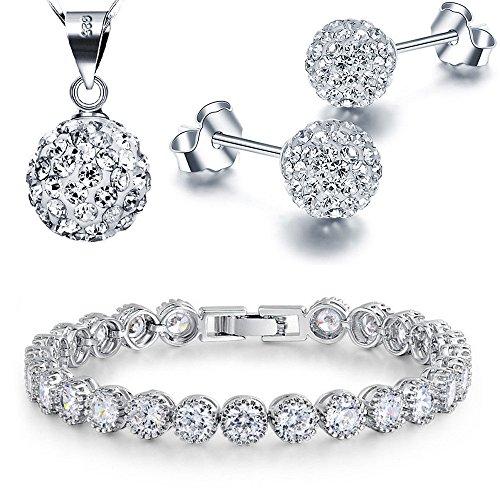 Kim Johanson Juego de joyas para mujer 'Avery' en plata, collar con colgante y pendientes de plata de ley 925, pulsera rodiada, con cristales blancos, incluye bolsa de joyería