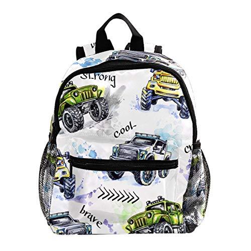 Kid Child Girl Cute Patterns Printed Backpack School Bag,Watercolor Hand Drawn Jeep Car