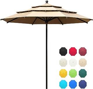 EliteShade Sunbrella 11ft 3 Tiers Market Umbrella Patio Outdoor Table Umbrella with Ventilation and 5 Years Non-Fading Top,Heather Beige