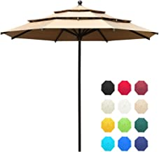 EliteShade Acrylic 11ft 3 Tiers Market Umbrella Patio Outdoor Table Umbrella with Ventilation and 5 Years Non-Fading Guarantee,Heather Beige