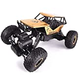 WCY Télécommande sans Fil Voiture Rechargeable Big Foot RC Off Road Car Rocking Escalade Monstre Buggy Pneu de Camion Choc Puissant Batterie Dérive Car Stunts for Les Enfants yqaae (Color : Gold)