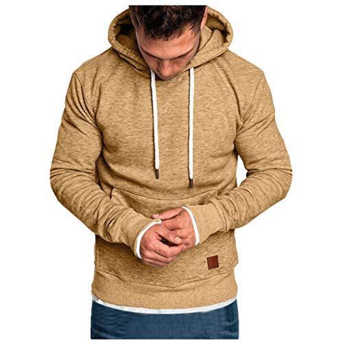 Xmiral Sweatshirt Hoodie Herren Einfarbig Knopf Kapuzenpullover mit Tasche Herbst Pullover Strickwaren Outwear mit Kapuze(C Khaki,L)