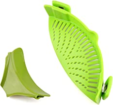 URBEST Strain Pan Strainer, Clip-on Silicone Strainer with Slip-On Bowl Pour Spout BPA Free 100% non-toxic for Draining Food While Cooking or Pouring Liquid, Universal Size Fits Most Pans Pots Bowls