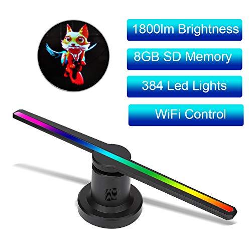WiFi 3D Hologramm Projektor, Tragbarer Hologramm Spieler Werbemaschine Fan,3D Projektor Advisement Displayer mit 100000 Stunden Lampenlebensdauer für Hotel/Bank(WiFi)