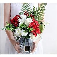 バラ 造花 花束 人工観葉植物 おしゃれ かわいい フラワー 花瓶付き インテリア 置物 母の日 プレゼント お祝い レッド・ホワイト