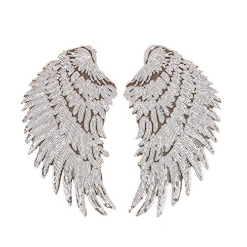 Parches alas ángel lentejuelas coser planchar plata