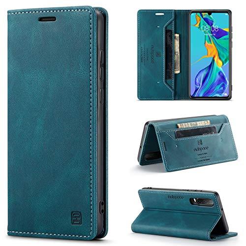 uslion Hülle RFID SchutzHandyhülle Kartenfach Geld Slot Ständer Flip Hülle Magnetisch Klapphülle Lederhülle Schutzhülle (Huawei P30 Lite, Blau)