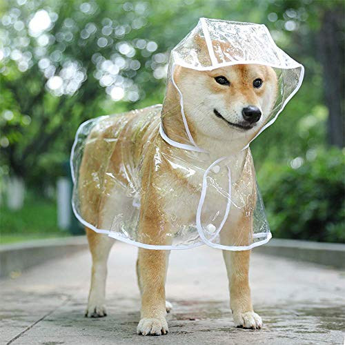KoKoBin Cappottino Catarifrangente per Cani Gatto con Cappuccio, Regolabile PVC Trasparente Poncho Impermeabile Ultraleggero, per Cani di Piccola Taglia(Bianca, L)