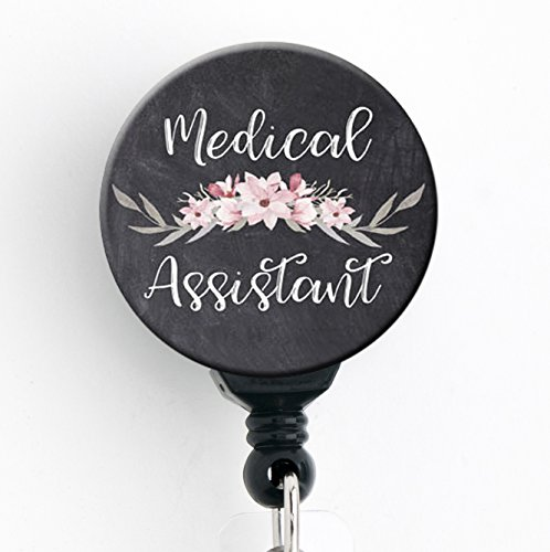 Medical Assistant Chalkboard Floral - Retractable Badge Reel with Swivel Clip and Extra-Long 34 inch Cord - Badge Holder/Nurse Badge/Cute Badge/Hospital Badge/MA
