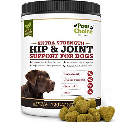 Paw Choice Dog Joint Supplement Chews - All Natural Glucosamine for Dogs with Chondroitin, MSM, Organic Turmeric - Hip and Joint Support for Dogs, Pain Relief - Made in USA, 120 Treats, Turkey Flavor