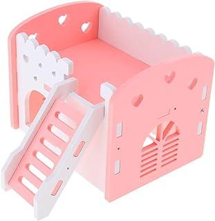 ハムスターハウス 2階 建て お家 飼育ケージ ペット用品 遊び場 おもちゃ 運動不足解消 全3色 - ピンク