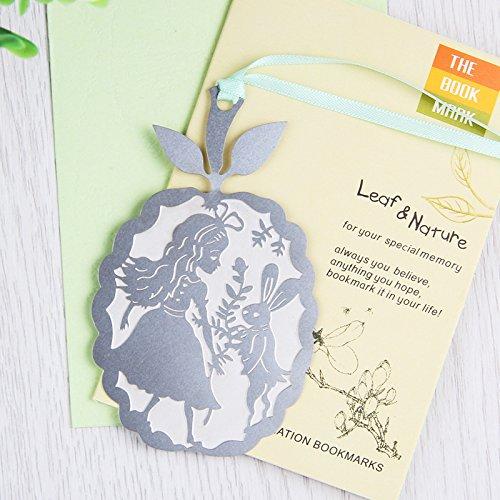 Happy Star® - Segnalibri in metallo argentato, con scritta 'Alice nel paese delle meraviglie'