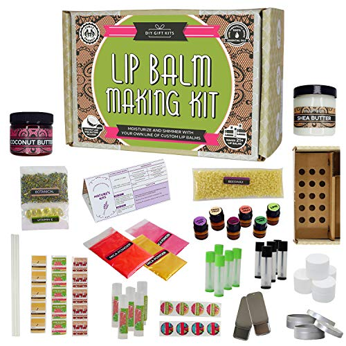 Deluxe Lip Balm Kit with Filling Tray, (77-Piece Set) For Making Your Very Own Clear & Colored DIY Lip Balms! | Includes Tubes, Bees Wax Pouch, 100% Pure Therapeutic Essential Oils & More