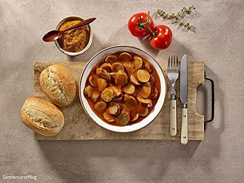 ration1 Currywurst 4 x 400g - 10 Jahre haltbar! Laktosefrei & Glutenfrei! Einfach öffnen und kalt oder warm genießen - keine weiteren Zutaten notwendig!