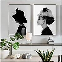 Retrato póster famoso Audrey Hepburn pared arte lienzo pintura blanco y negro pared cuadros para sala de estar decoración del hogar-50x70 cm sin marco