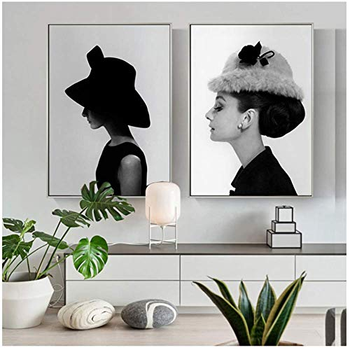 Retrato póster famoso Audrey Hepburn pared arte lienzo
