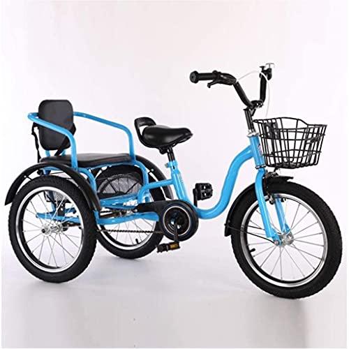 Triciclo para adultos bicicleta Bicicletas De Cruceros Para Niños De Dos Ruedas Para Niños De 2 Plazas Durante 2-12 Años 6 Bicicletas De Tres Ruedas De 18 Pulgadas Con Cinturó(Size:18 inch,Color:Azul)