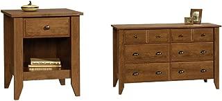 Sauder Shoal Creek Night Stand, Oiled Oak + Sauder Shoal Creek Dresser, Oiled Oak_Bundle