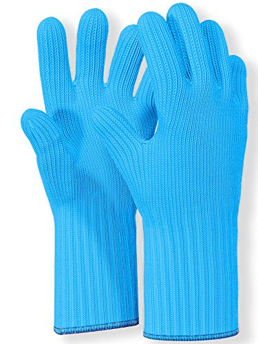 Heat Resistant Oven Gloves with Fingers -1 Pair Blue Kitchen Oven Mitt Set - Pot Holders Cotton Gloves - Double Oven Kitchen Gloves