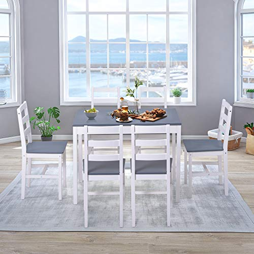 Pine Wood Dining Table and 6 Chairs Set Solid Wooden Kitchen Furniture, Home Furniture Set Dining Room Furniture Set, Grey