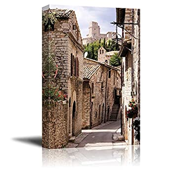 Beautiful Landscape Scenery Medieval Street in The Italian Hill Town of Assisi - Canvas Art Wall Art - 16  x 24