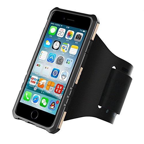 AboutLife - Brazalete Deportivo para iPhone 6/6S/7 (4,7 Pulgadas) y Funda Multifuncional para iPhone 6/6S/7 para Correr y Hacer Ejercicio con Capa de Licra Resistente al Sudor (Color Dorado cálido)