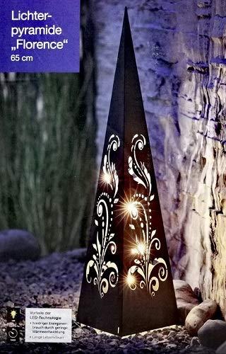 Unbekannt Lichterpyramide 65cm Deko Pyramide mit LED Beleuchtung Garten Dekoration Timer