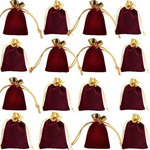 integrity.1 12 Bolsos de Terciopelo para Joyas, Bolsos con Cordón Ajustable, Bolsos de Regalo de Boda para Fiestas Festivas, Bolsito de Terciopelo Dorado de Oreja de Madera (Rojo Vino)