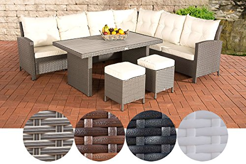 CLP VILATO garden set consisting of: 1 corner sofa, 2 stools and 1 lounge table I seating group with 9 seats, garden furniture set made of poly rattan Modern grey