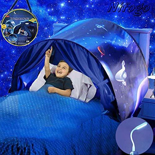 Nifogo Tente de Lit Tente de Rêve - Tente Playhouse de Tente Apparaitre Intérieure Enfant Jouer Tentes Cadeaux de Noël pour Enfants (Ciel Étoilé)