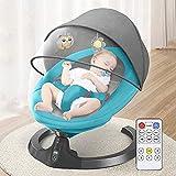 Regalo eléctrico de la silla de la cuna del bobo del bebé del bebé con control remoto y Bluetooth, silla de mecanización inteligente para la silla mecedora recién nacida para 0-36 meses, gris WDH666