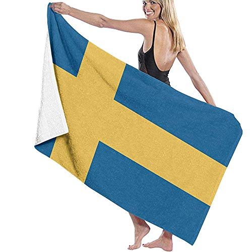 Leo-Shop Flagge von Schweden Mikrofaser Strandtücher Quick Dry Super Absorbent Bathing Spa Pool Handtücher zum Schwimmen & Outdoor