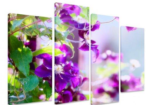 Bild auf Leinwand, mehrteilig, Clematis Blume auf einem Zaun Closeup Bokeh lila Blüten, ART Depot OUTLET Wandbild, 4 Leinwände, 101 x 71 cm (101.60 cm x 71.12 cm)