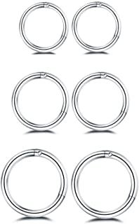 Changgaijewelry 3Pairs Stainless Steel 16G Sleeper Tiny Hoop Earrings Septum Hinged Nose Lip Ring Cartilage Tragus Piercings 6mm 8mm 10mm Set
