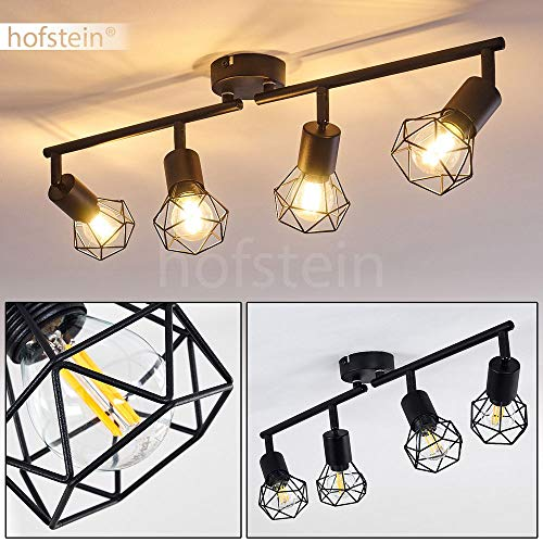 Deckenleuchte Baripada, Deckenlampe aus Metall in Schwarz, 4-flammig, 4 x E14-Fassung max. 40 Watt, verstellbarer Spot im Retro/Vintage Design in Gitter-Optik m. Lichteffekt an der Decke, LED geeignet