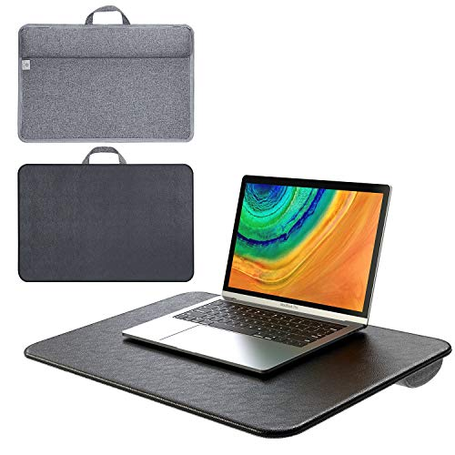 Laptop Tray with Cushion, Laptop Stand with Pillow, Elekin Multifunctional Portable Lap Pillow Desk, Laptop Tray with Handle, Built-in Soft Foam Laptop Desk, Laptop Table Portable Desk Up to 17'-Gray