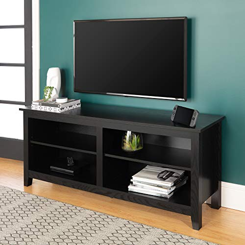 WE Furniture Minimal Farmhouse Wood Universal Stand for TV's up to 64' Flat Screen Living Room Storage Shelves Entertainment Center, 58 Inch, Black