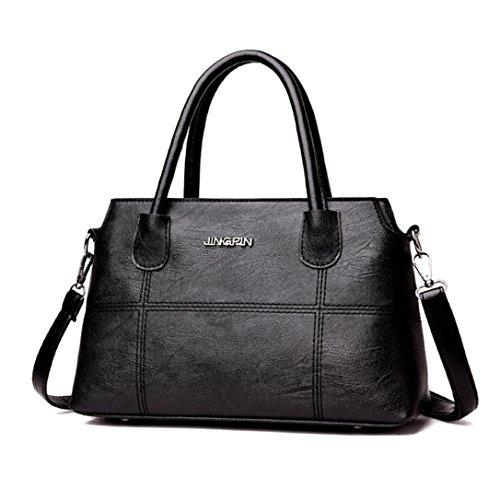 Dragon868 Damen Splice Handtasche Schultertasche Business Crossbody Tasche Tote Bag (Schwarz)