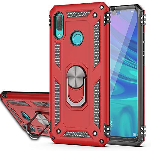 YmhxcY Funda Huawei Y7 2019 con Protector De Pantalla De Vidrio Templado [Paquete de 2],Funda Giratoria de 360 Grados a Prueba de Golpes, Doble Capa, Anillo Giratorio para Huawei Y7 2019-JS Rojo