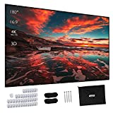 Projector Screen, Upgraded 180 Inch Portable Projector Screen 16:9 HD Anti-Crease Indoor Outdoor Foldable Portable Movie...