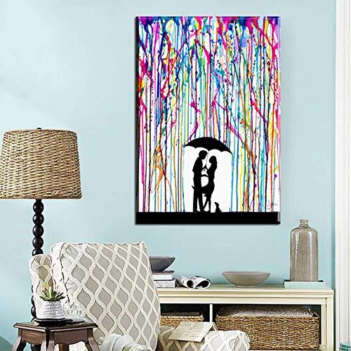 N / A Póster abstracto bajo color, diseño de hombre y mujer, amor, impresión de pared, lienzo abstracto, 30 x 45 cm, sin marco