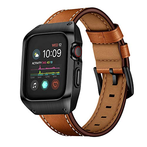 EloBeth Compatible with Apple Watch Band 44mm Series 5 & Series 4, Mens Genuine Leather Replacement Bands Brown with Metal Protective Case for iWatch 44mm Series 4/5 (Black)