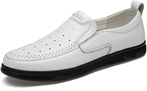 Chaussures de conduite pour hommes Mocassin Mocassin occasionnel Confortable et confortable perforé à enfiler sur le dessus en cuir véritable Chaussures de cricket ( Couleur   blanc perforated , Taille   43 EU )  mode classique