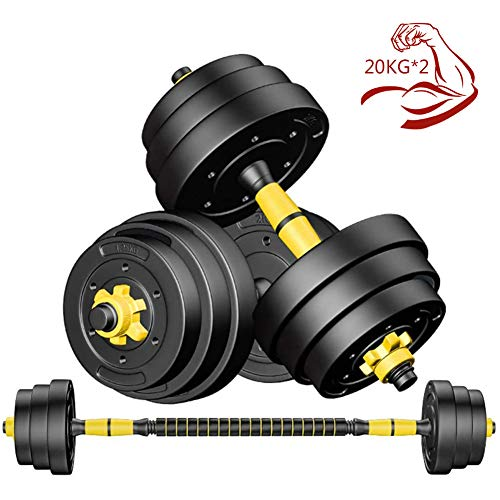 40kg/90lb Adjustable Dumbbells Set for Men Professional Fitness Equipment with Connecting Rod Used As Barbell for Body Workout Home Gym (One Pair),Yellow