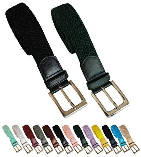 Cinturón trenzado elástico y extensible 2 piezas cinturones con hebilla para hombre y mujer. Pack de 2 colores (Negro - Verde, 110cm)