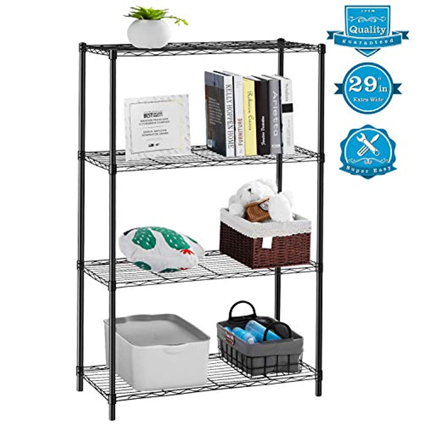 """AOOU Shelf 4-Tier Shelving Unit, 29"""" Extra Wide Wire Shelving for Large Storage, Classic Metal Steel Storage Rack Sturdy for use in Pantry, Living Room, Kitchen, Garage, Coated with Black"""