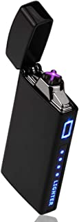 TOPKAY Electric Arc Lighter, Windproof Plasma Lighter, USB Rechargeable Electronic Dual Plazmatic Arc Lighter, Candle Lighter, Mini Lighter (Black)
