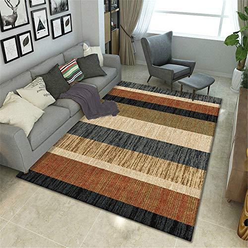 Teppiche Kinder Spielen Kinder Spielen Teppich Rutschfestes und leicht zu reinigendes schwarzbraunes geometrisches Design Lichtecht Bett Teppich 140X200CM
