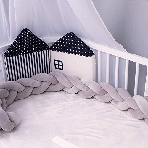 Windream Baby Crib Bumpers Knotted Braided Soft Plush Nursery Cradle Pillow Cushion, Infant Cot Rails Decorative Newborn Gift for Bedding Sheets Sides Protector(Grey/78.7 inch/2M)
